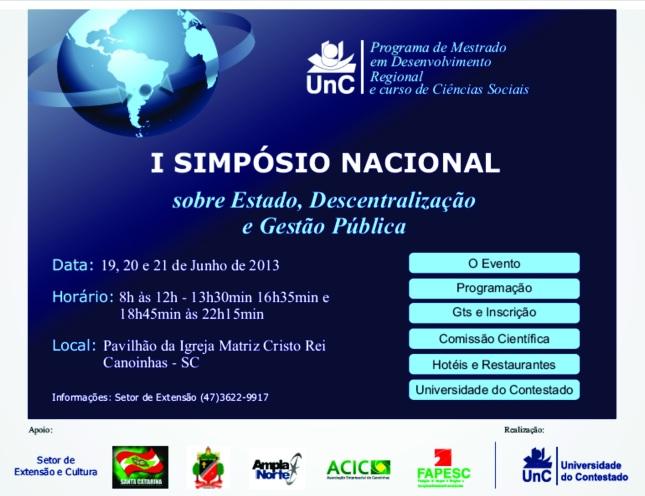 I Simpósio Nacional sobre Estado, Descentralização e Gestão Pública